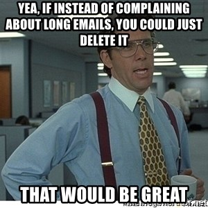 That would be great - yea, if instead of complaining about long emails, you could just delete it that would be great