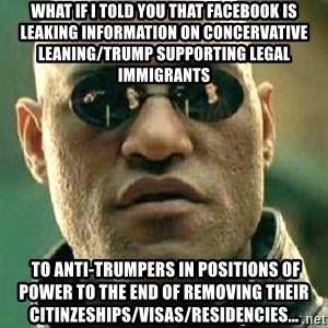 What if I told you / Matrix Morpheus - what if I told you that facebook is leaking information on concervative leaning/trump supporting legal immigrants  to anti-trumpers in positions of power to the end of removing their citinzeships/visas/residencies...