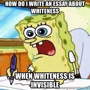 Spongebob What I Learned In Boating School Is - HOW DO I WRITE AN ESSAY ABOUT WHITENESS WHEN WHITENESS IS INVISIBLE