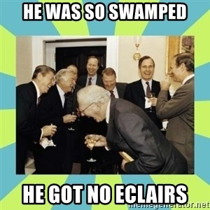 reagan white house laughing - he was so swamped he got no eclairs