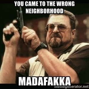 am i the only one around here - you came to the wrong neighborhood MADAFAKKA