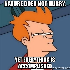 Not sure if troll - Nature does not hurry, Yet everything is accomplished