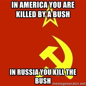 In Soviet Russia - in america you are killed by a bush            in russia you kill the bush