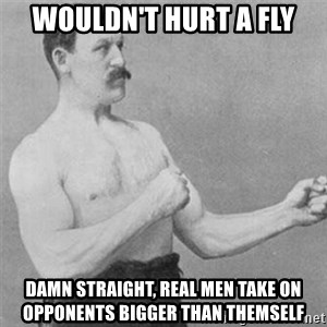 overly manlyman - Wouldn't hurt a fly Damn straight, real men take on opponents bigger than themself