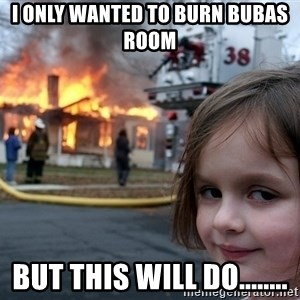 Disaster Girl - I only wanted to burn bubas room but this will do........