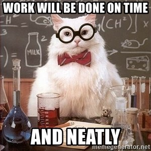 Science Cat - Work will be done on time and neatly