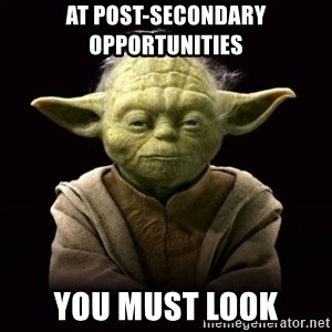 ProYodaAdvice - AT POST-SECONDARY OPPORTUNITIES YOU MUST LOOK