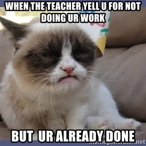 Birthday Grumpy Cat - when the teacher yell u for not doing ur work  but  ur already done