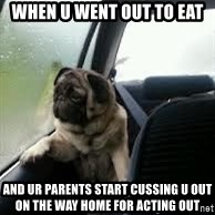 introspective pug - when u went out to eat and ur parents start cussing u out on the way home for acting out