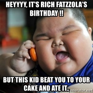 fat chinese kid - Heyyyy, It's rich Fatzzola's birthday !!  But this kid beat you to your cake and ate it..