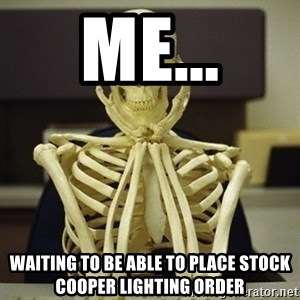 Skeleton waiting - Me... Waiting to be able to place stock Cooper Lighting order
