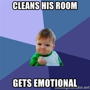 Success Kid - cleans his room gets emotional