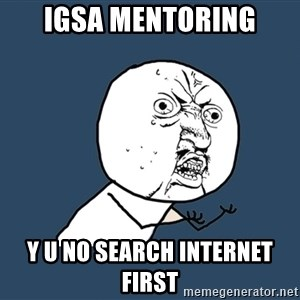 Y U No - IGSA MENTORING Y U No search internet first