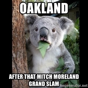 Koala can't believe it - Oakland After that Mitch Moreland Grand Slam