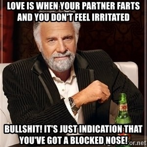 The Most Interesting Man In The World - Love is when your partner farts and you don't feel irritated Bullshit! It's just indication that you've got a blocked nose!