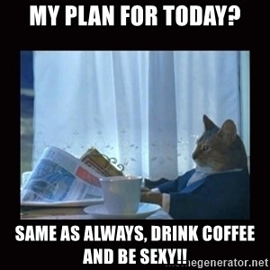 i should buy a boat cat - My plan for today? Same as always, drink coffee and be sexy!!