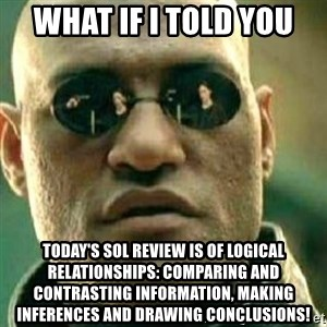 What If I Told You - What if I told you Today's SOL Review is of Logical Relationships: Comparing and contrasting information, making inferences and drawing conclusions!