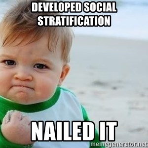 fist pump baby - developed social stratification nailed it