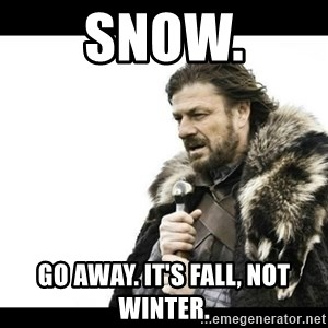 Winter is Coming - Snow. Go away. It's Fall, not Winter.