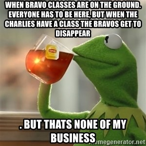 Kermit The Frog Drinking Tea - When Bravo classes are on the ground. Everyone has to be here, but when the Charlies have a class the Bravos get to disappear . But thats none of my business