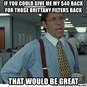 That would be great - If you could give me my $40 back for those Brittany filters back That would be great