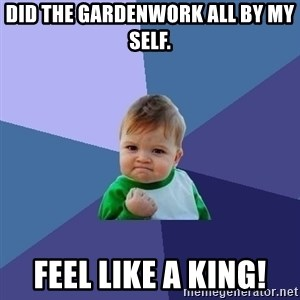 Success Kid - did the gardenwork all by my self. feel like a king!