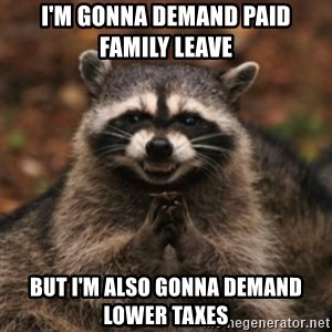 evil raccoon - I'm gonna demand paid family leave  but I'm also gonna demand lower taxes
