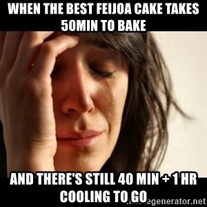 crying girl sad - when the best feijoa cake takes 50min to bake and there's still 40 min + 1 hr cooling to go