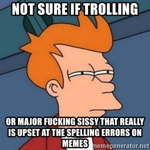 Not sure if troll - Not sure if trolling Or Major fucking sissy that really is upset at the spelling errors on memes