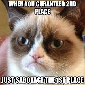 Angry Cat Meme - when you guranteed 2nd place just sabotage the 1st place