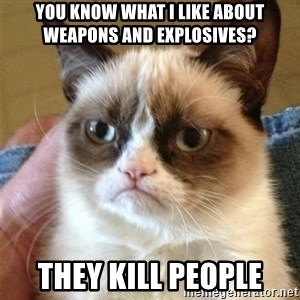 Grumpy Cat  - You know what I like about weapons and explosives? They kill people