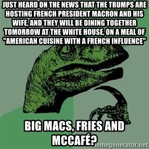 "Philosoraptor - Just heard on the news that the trumps are hosting french president macron and his wife, and they will be dining together tomorrow at the white house, on a meal of ""american cuisine with a french influence"" big macs, fries and McCafé?"