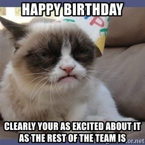 Birthday Grumpy Cat - HAPPY BIRTHDAY CLEARLY YOUR AS EXCITED ABOUT IT AS THE REST OF THE TEAM IS