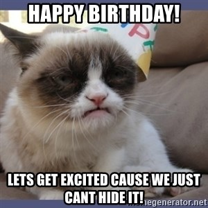 Birthday Grumpy Cat - HAPPY BIRTHDAY! LETS GET EXCITED CAUSE WE JUST CANT HIDE IT!