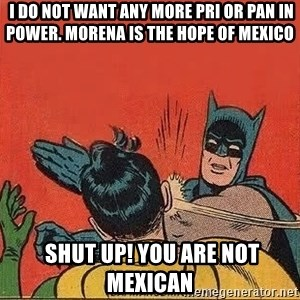 batman slap robin - I do not want any more PRI or PAN in power. morena is the hope of mexico  Shut up! you are not Mexican