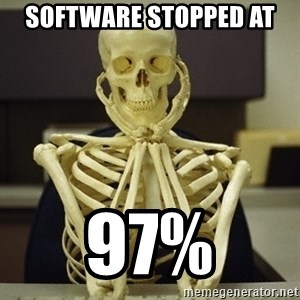 Skeleton waiting - SOFTWARE STOPPED AT  97%