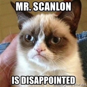 Grumpy Cat  - Mr. Scanlon is disappointed
