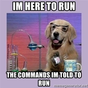 Dog Scientist - Im here to run The commands im told to run