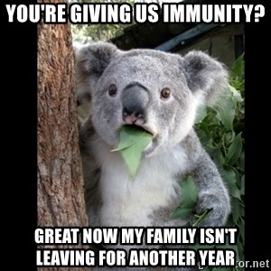 Koala can't believe it - you're giving us immunity? Great now my family isn't leaving for another year