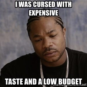 Sad Xzibit - I was cursed with expensive  Taste and a low budget