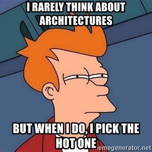 Futurama Fry - I rarely think about architectures but when I do, I pick the hot one