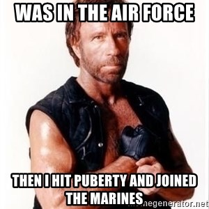 Chuck Norris Meme - Was in the Air Force  Then I hit puberty and joined the MARINES