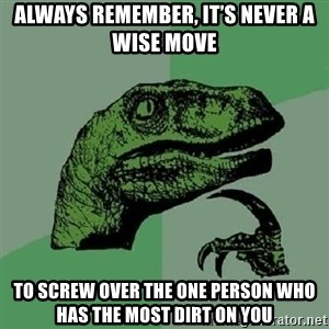 Philosoraptor - Always remember, it's Never a wise move To screw over the one Person who has the most dirt on you
