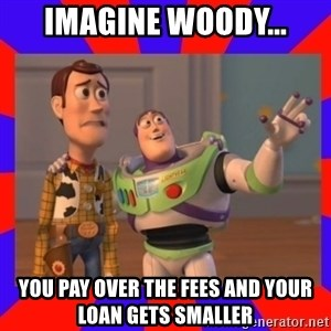 Everywhere - imagine woody... you pay over the fees and your loan gets smaller
