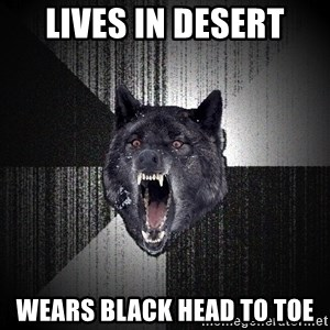 Insanity Wolf - Lives in desert Wears black head to toe