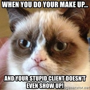 Angry Cat Meme - When you do your make up... And your stupid client doesn't even show up!