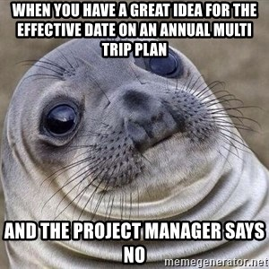 Awkward Seal - When you have a great idea for the Effective Date on an annual multi trip plan And the project manager says no