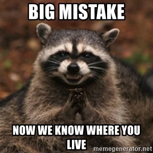 evil raccoon - Big mistake Now we know where you live