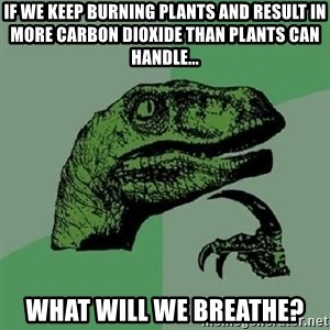 Philosoraptor - If we keep burning plants and result in more carbon dioxide than plants can handle... What will we breathe?