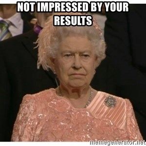 Unimpressed Queen - Not impressed by your results